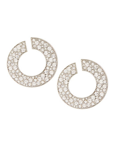 Expression Encrusted Open Disc Earrings-SILVER-One Size