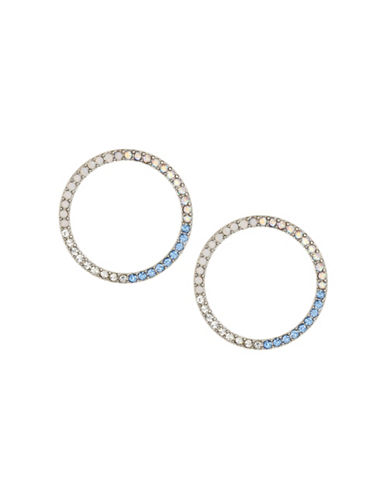 Expression Multi-Tone Sparkling Hoop Earrings-BLUE-One Size