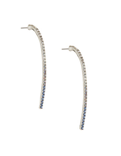 Expression Curved Pave Bar Post Earrings-BLUE-One Size