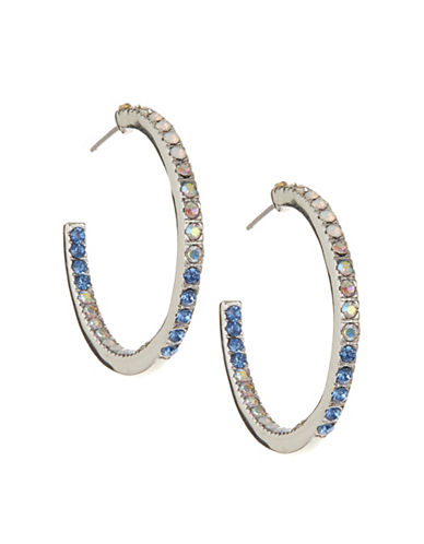 Expression Rhinestone Open Hoop Earrings-BLUE-One Size