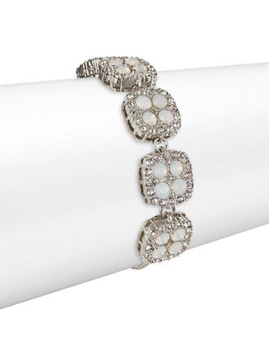 Expression Square Rhinestone Bracelet-SILVER-One Size
