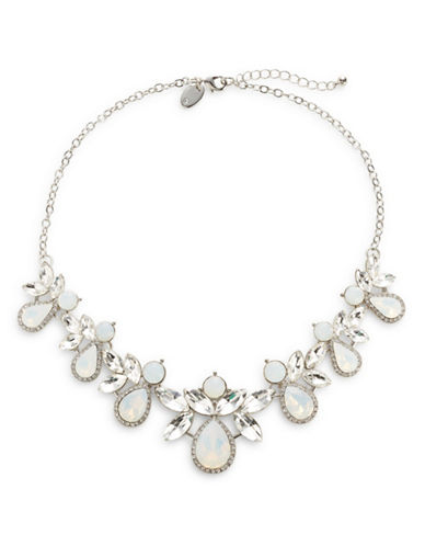 Expression Teardrop Faceted Statement Necklace-SILVER-One Size