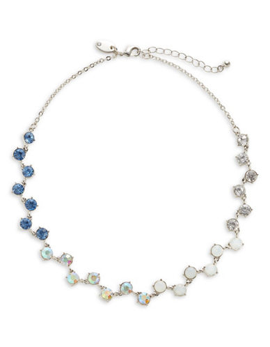 Expression Rhinestone Link Necklace-BLUE-One Size