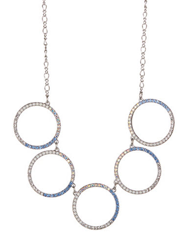 Expression Five Pave Ring Necklace-BLUE-One Size