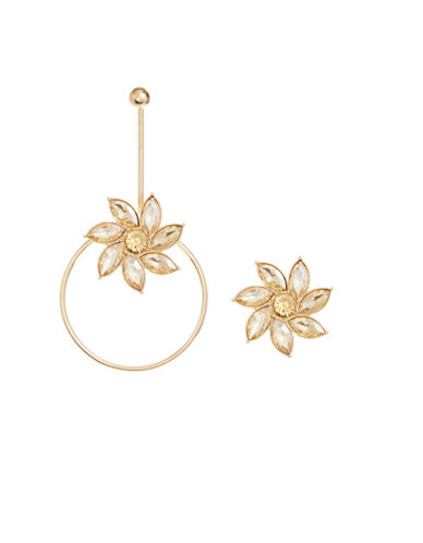 Design Lab Lord & Taylor Flower Asymmetrical Dangle and Drop Earrings-GOLD-One Size