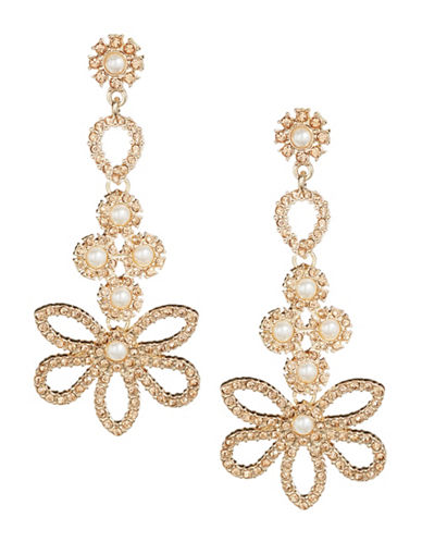 Expression Floral Pearl Post Drop Earrings-BEIGE-One Size