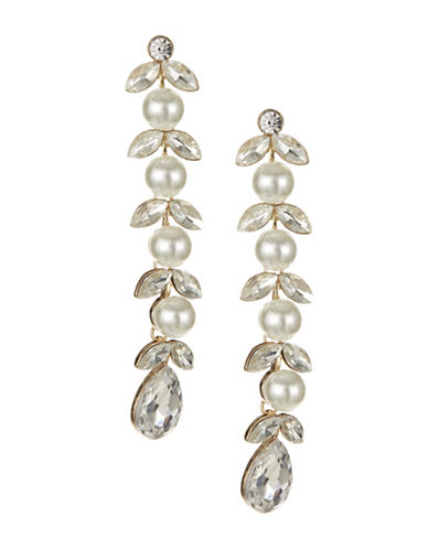 Expression Faux Pearl Linear Drop Earrings-WHITE-One Size