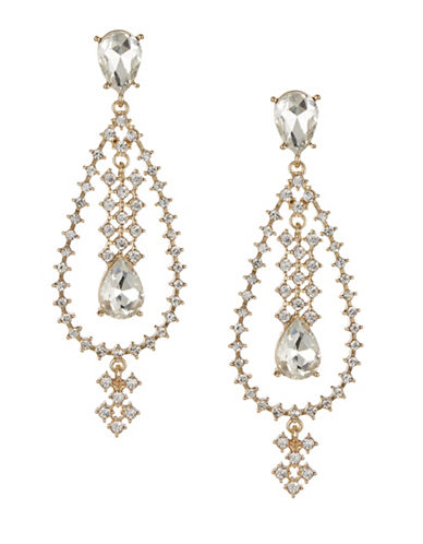 Expression Sparkling Open Teardrop Earrings-GOLD-One Size