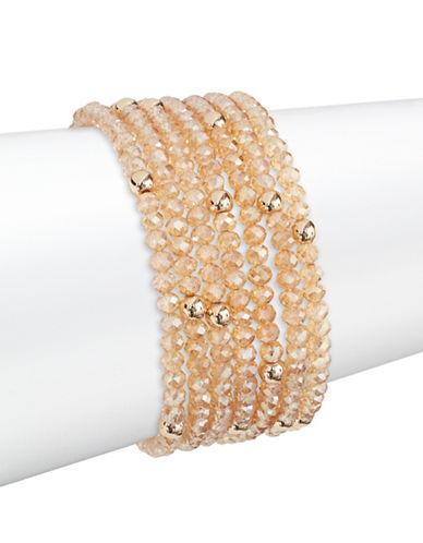 Expression Set of Six Candy Beaded Bracelets-ORANGE-One Size