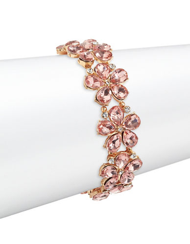 Expression Tear Drop Flower Shape Crystal Stretch Bracelet-ORANGE-One Size
