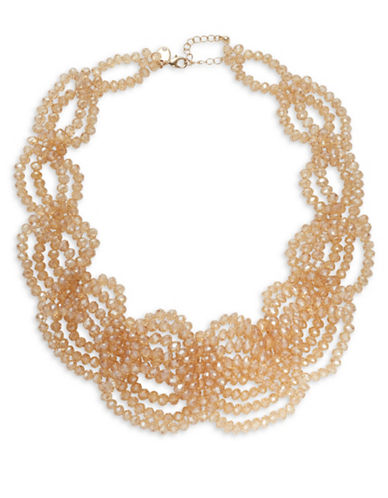 Expression Multi-Row Bead Statement Necklace-ORANGE-One Size
