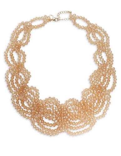 Expression Multi-Row Bead Statement Necklace-ORANGE-One Size