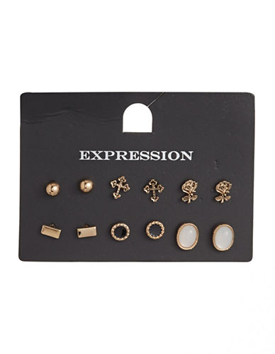 Expression Six-Pair Mini Stud Earrings Set-GOLD-One Size
