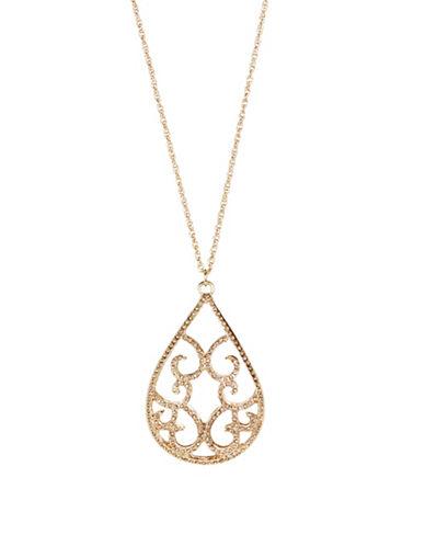 Expression Teardrop Pendant Necklace-ORANGE-One Size