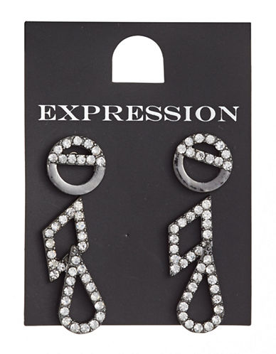 Expression Three-Pair Sparkling Stud Earrings Set-GREY-One Size