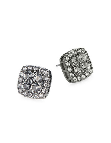Expression Square Pave Stud Earrings-GREY-One Size