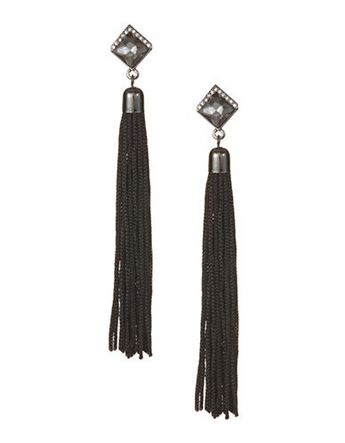 Expression Rhinestone Tassel Earrings-BLACK-One Size