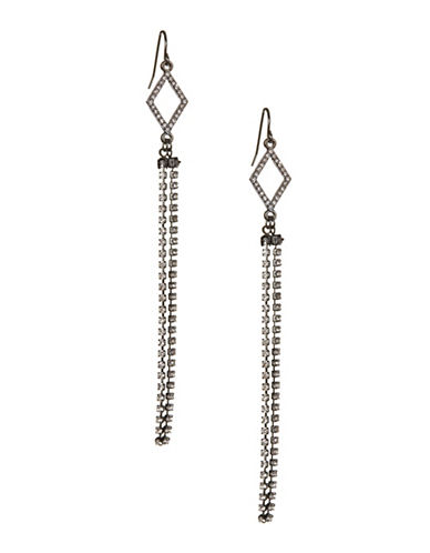 Expression Diamond Shape Tassel Earrings-GREY-One Size