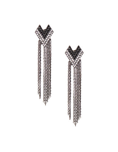 Expression Cheveron Post Earrings-BLACK-One Size