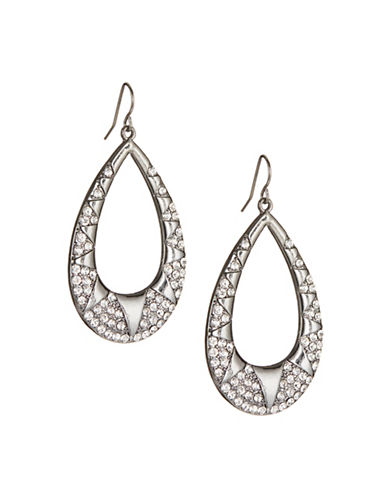 Expression Sparkle-Trim Teardrop Hoop Earrings-GREY-One Size