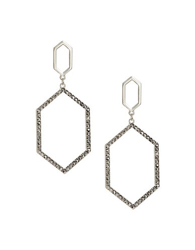 Expression Sparkling Hexagon Hoop Earrings-GREY-One Size