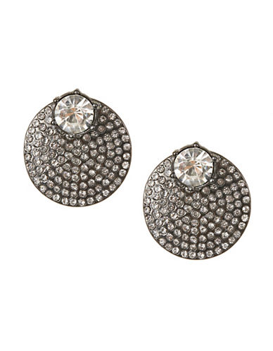 Expression Pave Disc Earrings-GREY-One Size