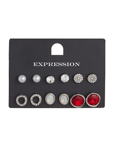 Expression Six-Pair Assorted Silvertone Earrings Set-RED-One Size