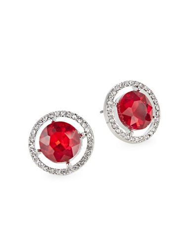 Expression Rhinestone Stud Earrings-RED-One Size