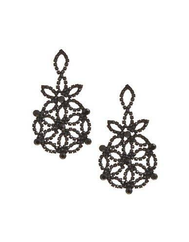 Expression Filigree Floral Drop Earrings-BLACK-One Size