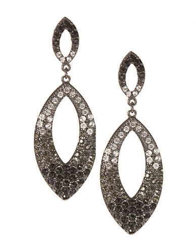 Expression Stone Gradient Teardrop Earrings-BLACK-One Size