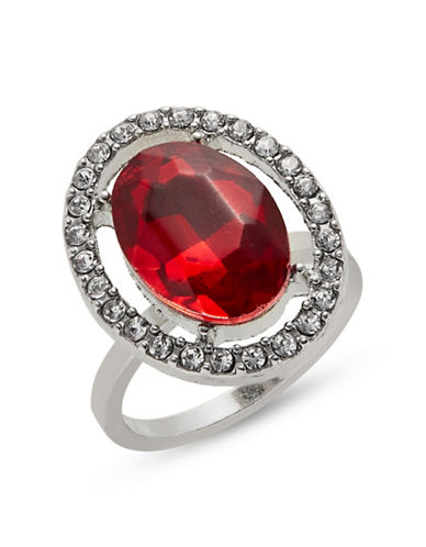Expression Silvertone Red Glass Ring-RED-7