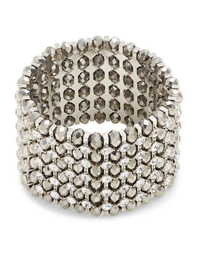 Expression Six Row Rhinestone Stretch Bracelet-SILVER-One Size
