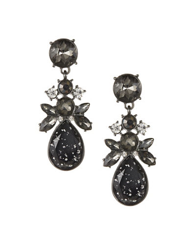 Expression Faceted Stone Teardrop Earrings-BLACK-One Size