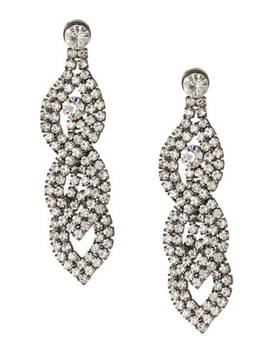 Expression Sparkling Tier Teardrop Earrings-GREY-One Size