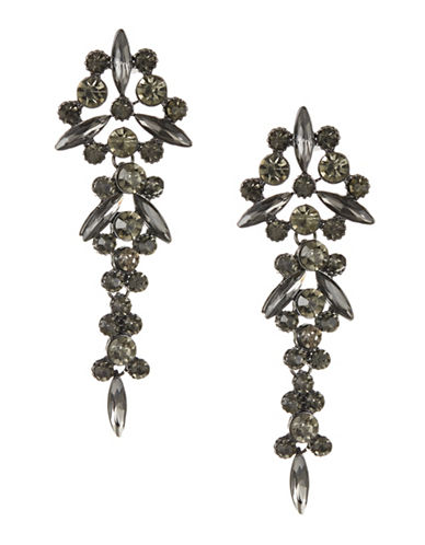 Expression Faceted Round-Navette Stone Drop Earrings-BLACK-One Size