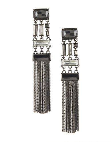 Expression Statement Tassel Link Earrings-BLACK-One Size