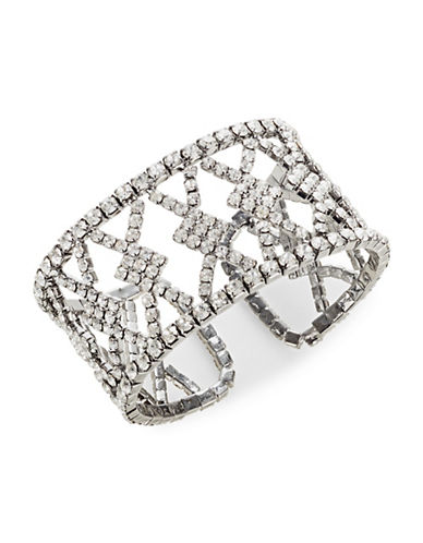 Expression Pave Chain Cuff Bracelet-SILVER-One Size
