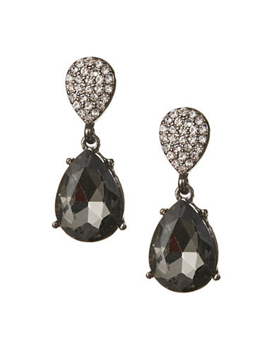 Expression Double Drop Rhinestone Earrings-BLACK-One Size