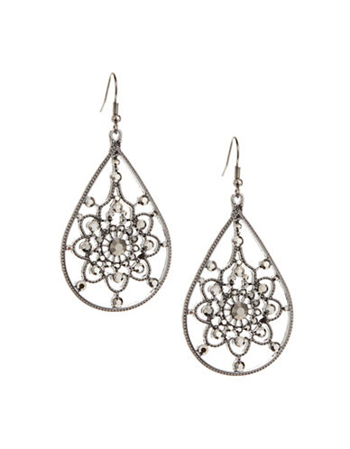Expression Filigree Disc Drop Earrings-GREY-One Size