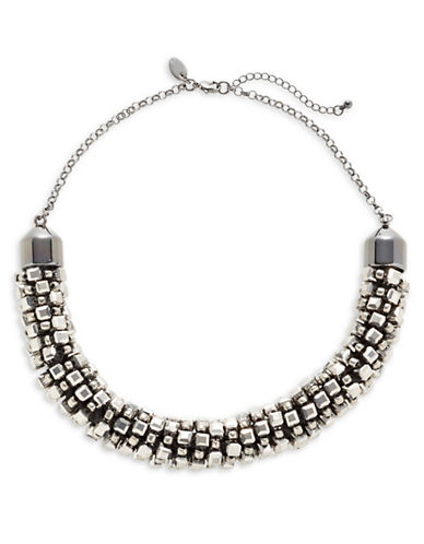 Expression Multi-Cubic Beads Statement Necklace-GREY-One Size