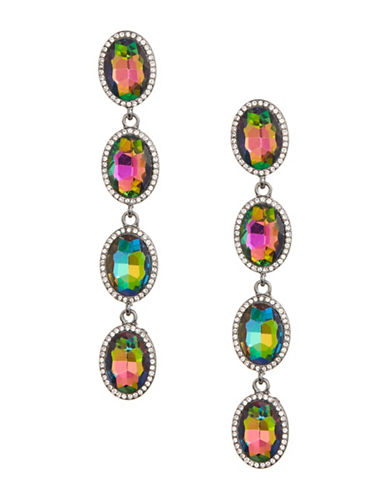 Expression Linear Faceted Stone Drop Earrings-MULTI-One Size