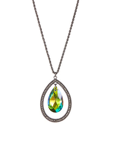 Expression Pave Teardrop Necklace-GREY-One Size