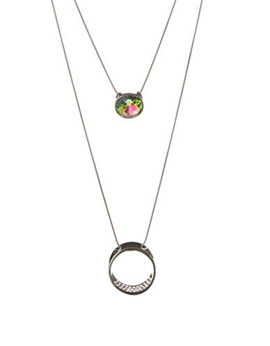 Expression Set of Two Pendant Necklaces-GREY-One Size
