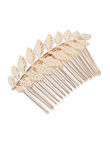 Expression Rose Gold Leaf Hair Comb Barrette-GOLD-One Size