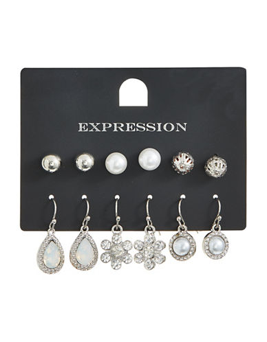 Expression Set of Six Orb Stud and Drop Earrings-BEIGE-One Size
