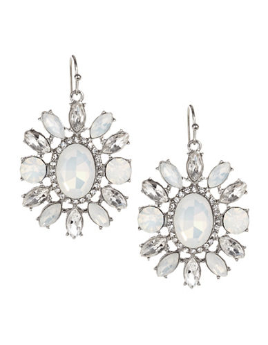 Expression Faceted and Pavé Crystal Oval Drop Earrings-SILVER-One Size
