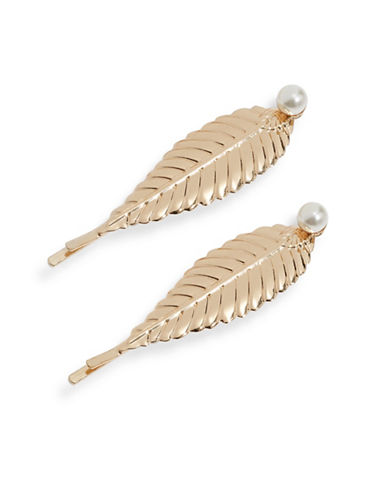 Expression Set of Two Leaf Faux Pearl Pins-BEIGE-One Size