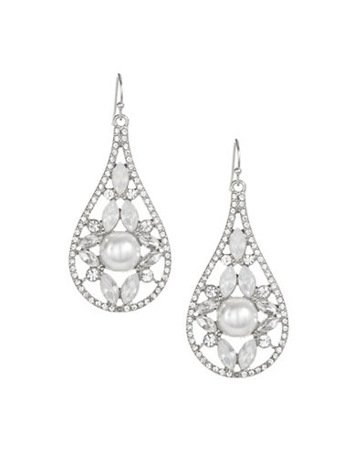 Expression Pavé Crystal Navette Drop Earrings-SILVER-One Size