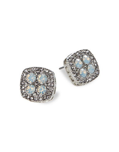 Expression Square Pave Stone Stud Earrings-SILVER-One Size
