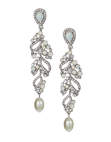 Expression Crystal Dangly Drop Earrings-BEIGE-One Size